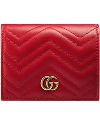 fee6d236744d0a Lyst - Gucci Gg Marmont Card Case in Pink