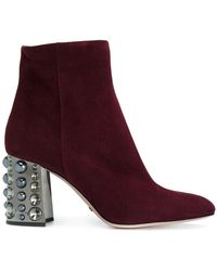 Sebastian - Ankle Boots With Embellished Heel - Lyst