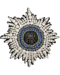 Rochas R Logo Crystal Embellished Brooch - White