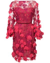 Marchesa notte - Lace Fitted Dress - Lyst