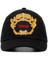 Versace - Black Blasone Baroque Embroidered Cotton Cap - Lyst