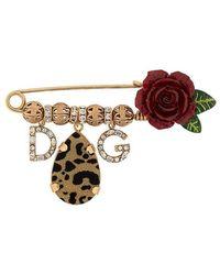 Dolce & Gabbana - Crystal Logo Rose Brooch - Lyst