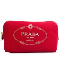 Prada - Logo Printed Make Up Bag - Lyst