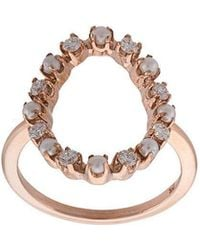 Marlo Laz - 14kt Gold Full Circle Diamond And Pearl Ring - Lyst