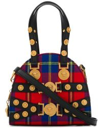 b4d9f0cdd359 Versace - Red Tribute Tartan Leather And Cotton Bag - Lyst