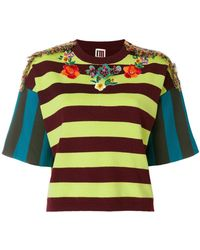 I'm Isola Marras - Embellished Embroidered Striped Top - Lyst
