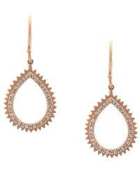 Eva Fehren - 18kt Rose Gold And Diamonds Small Drop Earrings - Lyst