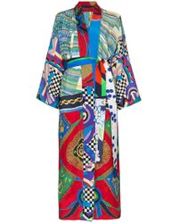 Rianna + Nina - Long Multi Checkerboard Floral Print Silk Kimono Robe - Lyst