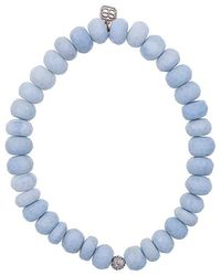 Sydney Evan - Blue African Opal Beaded Bracelet With Diamond Ball Charm - Lyst