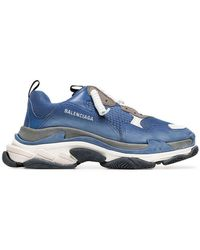 e916738a6c73 Balenciaga - Blue And White Triple S Leather Sneakers - Lyst