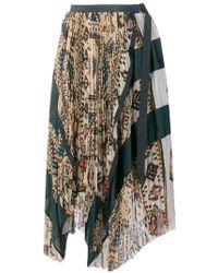 Sacai - Asymmetric Pleated Patchwork Skirt - Lyst