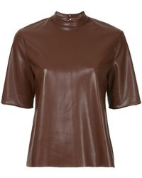 Nanushka - Faux Leather Mock Neck T-shirt - Lyst