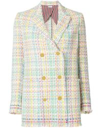 Thom Browne - Double Breasted Sack Jacket With Fray & Selvedge In Madras Tulle Tweed With Red, White And Blue Selvedge - Lyst