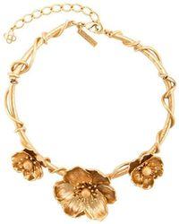 Oscar de la Renta - Three Flower Charm Necklace - Lyst