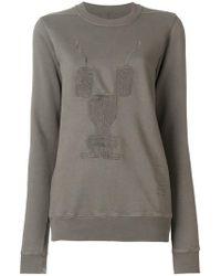 Rick Owens Drkshdw - Embroidered Motif Sweatshirt - Lyst