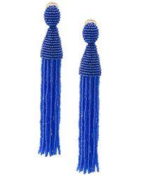 Oscar de la Renta - Long Ombre Beaded Clip On Earrings - Lyst