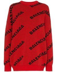 Balenciaga Jacquard Logo V-neck Sweater in Red - Lyst 1710ef8c8
