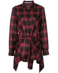 Alexander Wang - Tie Front Checked Playsuit - Lyst
