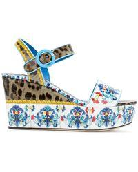 Dolce & Gabbana - Printed Platform Sandals - Lyst