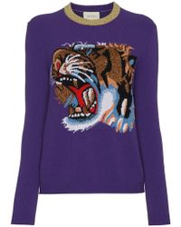 Gucci - Wool Jumper With Knitted Tiger Motif - Lyst