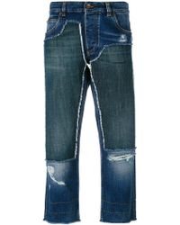 Dolce & Gabbana - Cropped Patch Jeans - Lyst