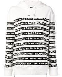 Balmain Sweat à capuche à bandes logos - Blanc