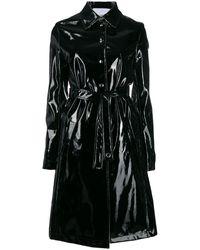 Paco Rabanne Glossy Trench Coat - Black