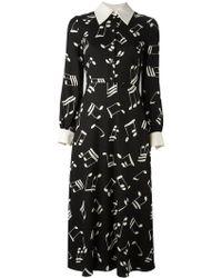 Saint Laurent - Music Note Printed Shirt Dress - Lyst