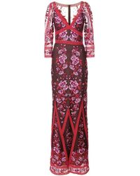 Marchesa notte - Fitted Floral Embroidered Mesh Gown - Lyst