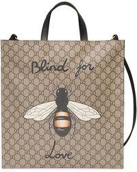 Gucci - 'GG Supreme' Handtasche mit Bienen-Print - Lyst