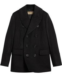 Burberry - Double Breasted Pea Coat - Lyst