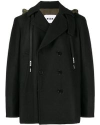 MSGM - Double Breasted Hoodie Coat - Lyst
