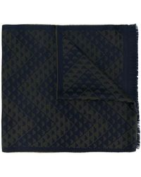 Emporio Armani - Logo Embroidered Fringed Scarf - Lyst