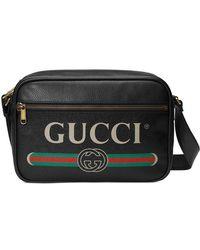 45fe695b446 Lyst - Gucci Logo-print Leather Messenger Bag in Black for Men ...