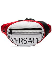 Versace - Red And White Logo Cross Body Bag - Lyst