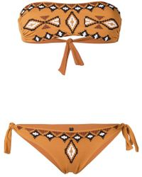 Fisico - Embroidered Pattern Bandeau Bikini - Lyst