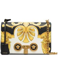 290d99690958 Versace - Black And Gold Barocco Ss 92 Print Leather Chain Strap Shoulder  Bag -