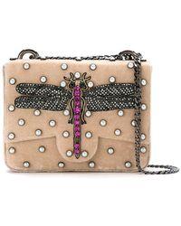 Isla - Embellished Velvet Shoulder Bag - Lyst