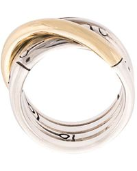 John Hardy - 18kt Yellow And Sterling Silver Bamboo Band Ring - Lyst