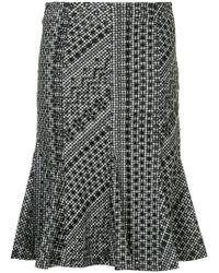 Calvin Klein - Gingham Ruffle Hem Midi Skirt - Lyst