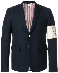 Thom Browne - High Armhole Single Breasted Sport Coat With Embroidery Patch Armband In Navy Canvas Suiting - Lyst