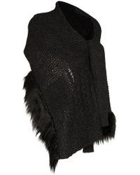 Simone Rocha - Grey Faux Fur Trim Wool Blend Wrap Cardigan Scarf - Lyst