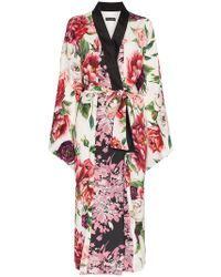 Dolce & Gabbana - Peony Print Jacquard Robe - Lyst
