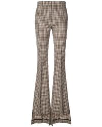 Vera Wang - Checked Asymmetric Flared Trousers - Lyst