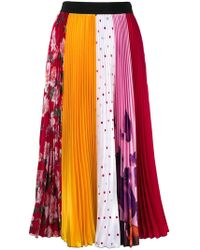 MSGM - Pleated Patchwork Skirt - Lyst