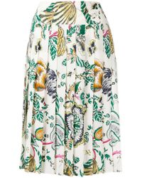 Tory Burch - Pleated Floral Print Skirt - Lyst