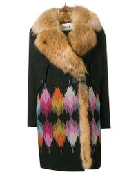 Bazar Deluxe - Patterned Trimmed Coat - Lyst