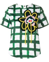 Mira Mikati - Hand Embroidered Flower Patch Scuba Top - Lyst