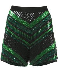 Sally Lapointe - Sequin Knit Chevron Shorts - Lyst