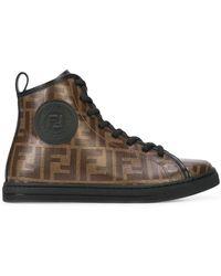 Fendi - Monogram Hi-top Sneakers - Lyst